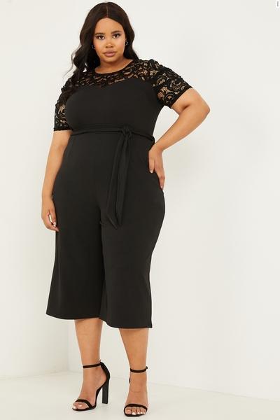 Curve Black Lace Puff Sleeve Jumpsuit